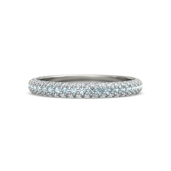 14k White Gold Ring With Diamond Rich Thin Band Gemvara White Gold Rings 14k White Gold Ring Aquamarine Ring Band