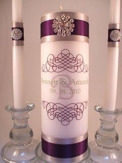 "Monogram unity candle: 9"" dripless pillar $matching side candles. Vellum wrap. (Requires 6-8 weeks for delivery!)"