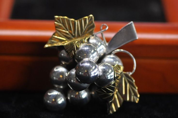 Vintage Mexico TC-294 Sterling Silver/Brass Grapes Brooch Pin Pendant Nice!! #Mexico
