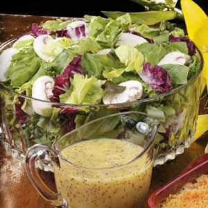 Orange Poppy Seed Dressing Recipe -This light, refreshing dressing is yummy over spinach and other types of salad greens, notes Sue Dannahower of Fort Pierce, Florida. The sweet-tart combination of honey, mustard, vinegar and citrus also accompanies fresh fruit nicely.