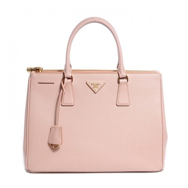 Prada Saffiano Lux Medium Double Zip Tote Cammeo Liked On Polyvore Featuring Bags Handbags Zippered Bag Monogr