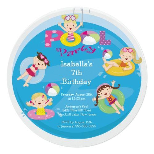 Pool Party Invitations Cute Kid's Pool Birthday Party Invitation