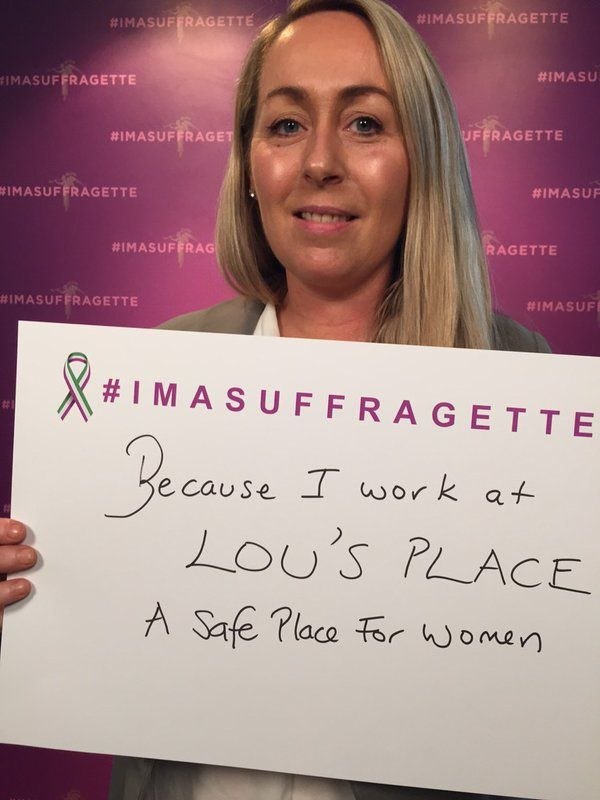 #Imasuffragette because I work at Lou's place, a safe place for women #suffragette https://t.co/aLD1u62Gpi