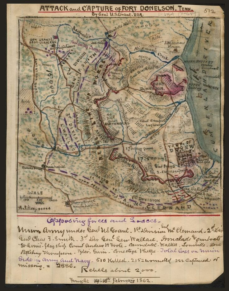 Attack Capture Of Fort Donelson Tennessee U S Grant Civil War Map 20