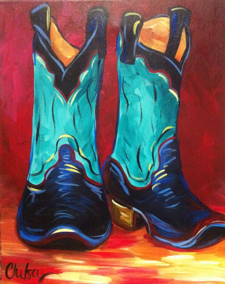 These Boots Canvas And Cocktails Acrylic Painting In 2019