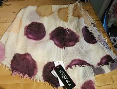 100% Wool Spotted Scarf in Off White by Fraas at Dream Weaver. www.dreamweavergifts.ca