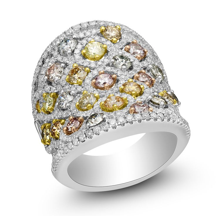 Charles Krypell Platinum & 18KYRG Pastel Collection Fancy Colored Diamond Ring