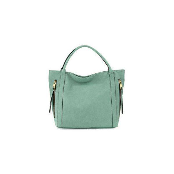 Neiman Marcus Double-Zip Faux-Leather Tote Bag (165 BRL) ❤ liked on Polyvore featuring bags, handbags, tote bags, light green, vegan leather tote, faux leather tote bag, tote purses, mint green tote bag and mint green purse