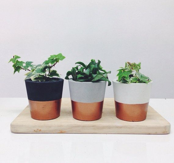 Copper Dipped Small Cement Pots Planters Or Candle By Sortlondon For The Home Pinterest And