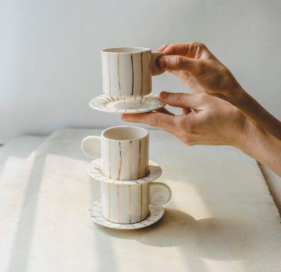 Porcelain Espresso Cup Set Handmade Ceramic Coffee Cup Tea Cup And