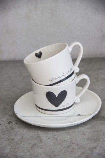 "Bastion Collection - Mokken ""Black & White"" & ""First Coffee.."" + Bord - Bloemsierkunst Rutten Budel"