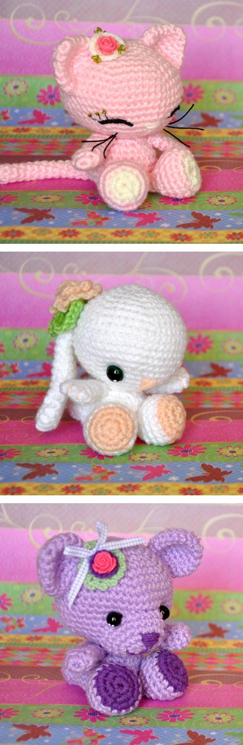 Chica outlet - free pattern - Amigurumi 3x1 - tres muñequitos diferentes con el mismo patrón base