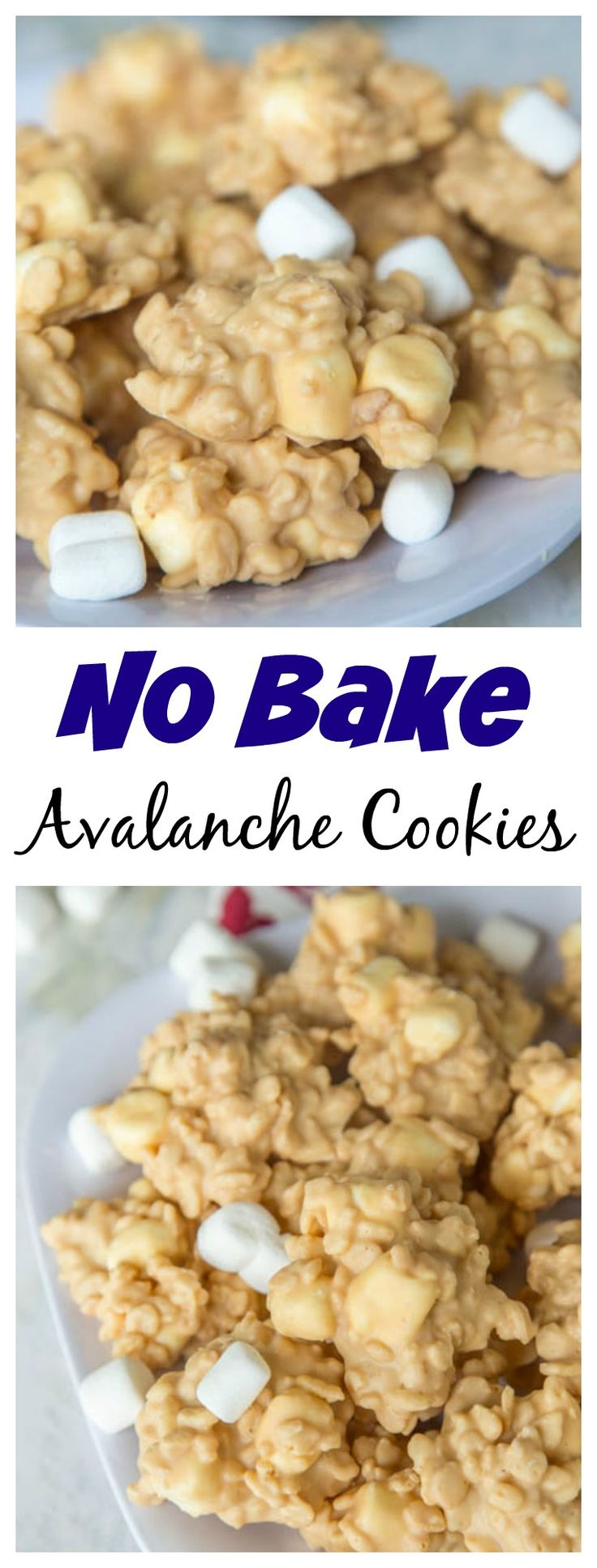 Easy No Bake Avalanche Cookies – just 4 ingredients and 5 minutes to make this cookie version of Rocky Mountain Chocolate Factory's Avalanche Bark!