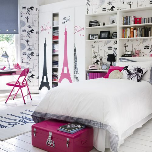 teen bedroom with a french theme