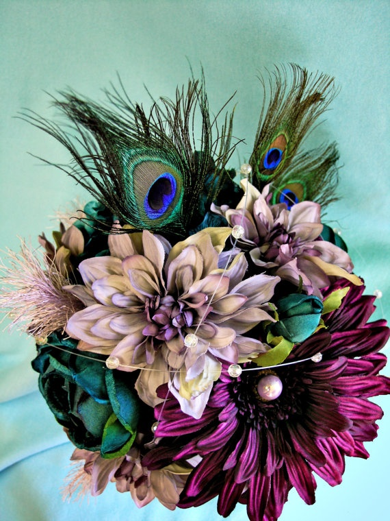 Peacock Wedding Flowers Purple Silk Bridal Bouquet by ExpressionsFloral