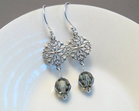 Grey chandelier earrings, silver chandelier earrings,1-3/4 inches,Swarovski earrings,beaded earrings,sterling silver ear wires,grey earrings