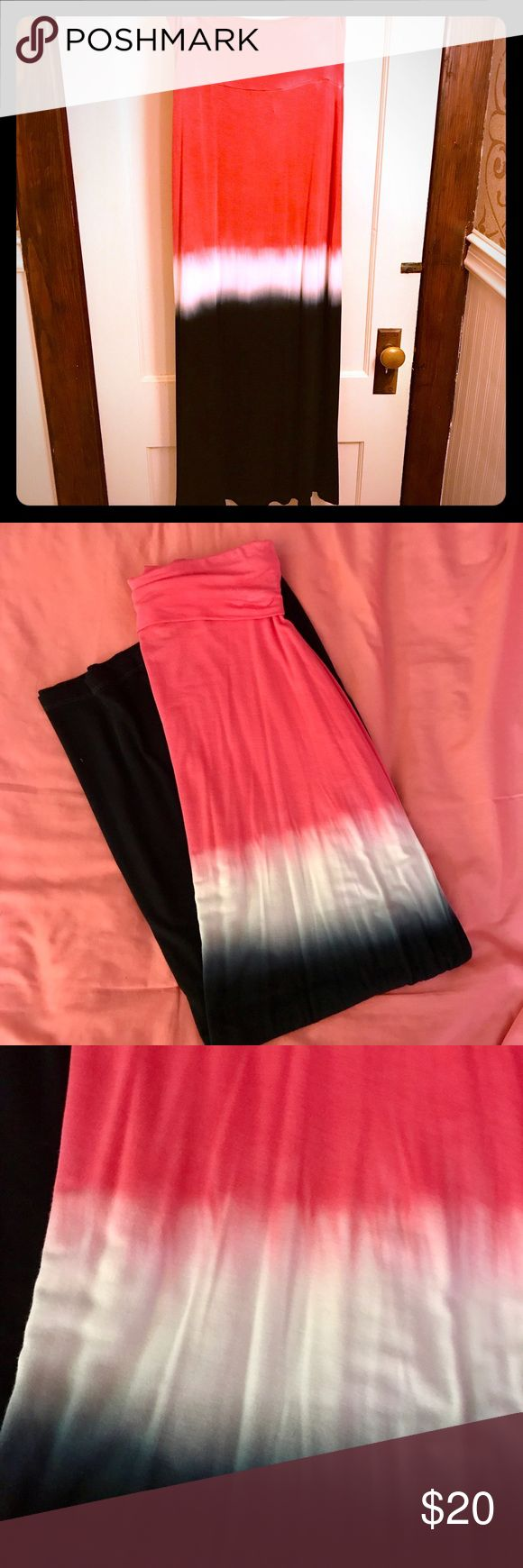 Maxi ombré folded waist full-length skirt A fun ombré tie-dyed striped full length fold over  maxi skirt by Design History.  A sexy color combo of magenta, white and navy stripes. Lovely tie dyed print knit skirt. This gorgeous skirt is totally sexy! 95% Rayon - 5% Spandex. Fold over waist band. Can even be worn as a sleeveless tube skirt as pictured. Skirt can be folded to adjust length.  Last picture shows similar skirt of how it looks on in heels. Worn only once.  It's just too big for…