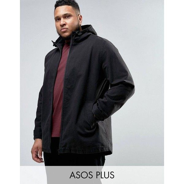 ASOS PLUS Lightweight Parka Jacket In Black (170 SAR) ❤ liked on Polyvore featuring men's fashion, men's clothing, men's outerwear, men's jackets, black, mens tall jackets, mens lightweight jacket, mens parka jacket, men's sherpa lined jacket and asos mens jackets