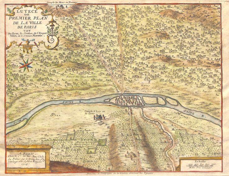 Lutèce ou premier plan de la ville de Paris par Nicolas de Fer en 1714