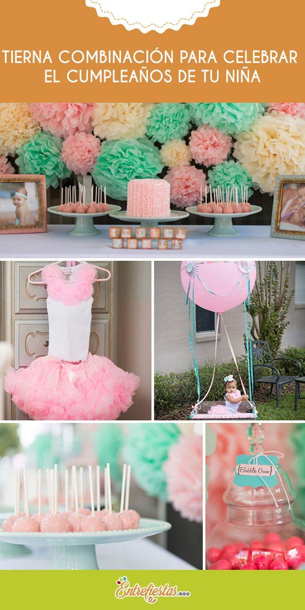 Celebra el primer cumpleaños de tu hija con una combinación de colores muy tierna, perfecta para la ocasión. Los tonos rosa y menta le darán a la fiesta un aspecto inocente y delicado al mismo tiempo. Sigue las recomendaciones a continuación para lograr una hermosa decoración.