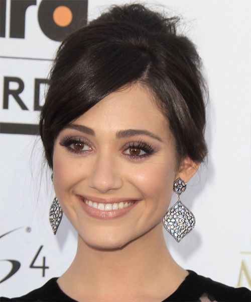 Emmy Rossum - Formal Updo Long Straight Hairstyle. Try on this hairstyle! http://www.thehairstyler.com/hairstyles/formal/updo-long/straight/emmy-rossum