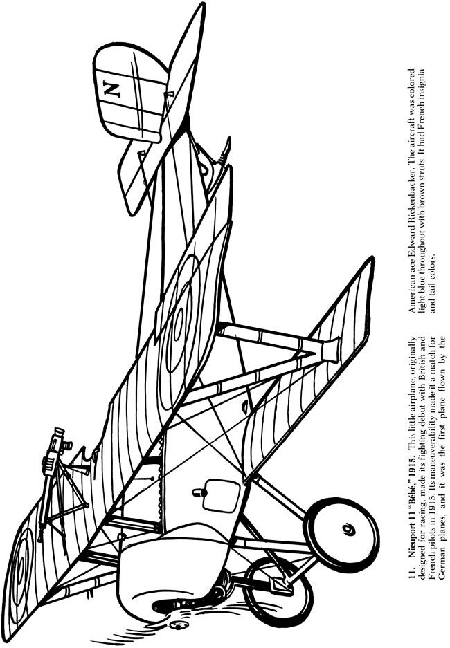 Airplanes of World War I Coloring