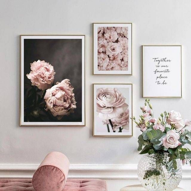 Romantic Pink Flowers Printed Canvas Artwork In 2020 Flower Painting Canvas Wall Art Pictures Dining Room Wall Art
