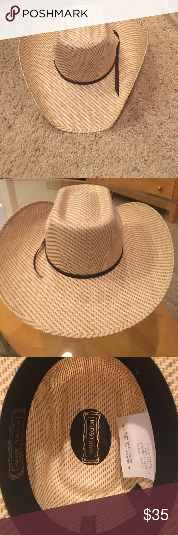🤠 cowboy hat  size 7 1/4- men's or women's Beautiful straw cowboy hat size 7 1/4 Brand- Rodeo King Accessories Hats