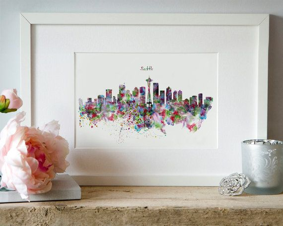 Seattle Skyline Silhouette Watercolor painting City by Artsyndrome