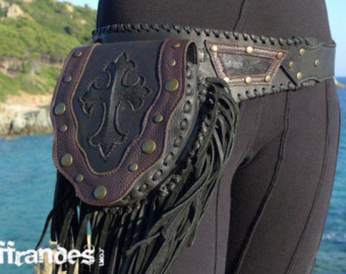 Utilidad de correa de cuero |  Cinturón de bolsillo de diseño hechos a mano | Cinturón de alta calidad | Biker | Gitano urbano | Ardiente hombre | Moda Festival |