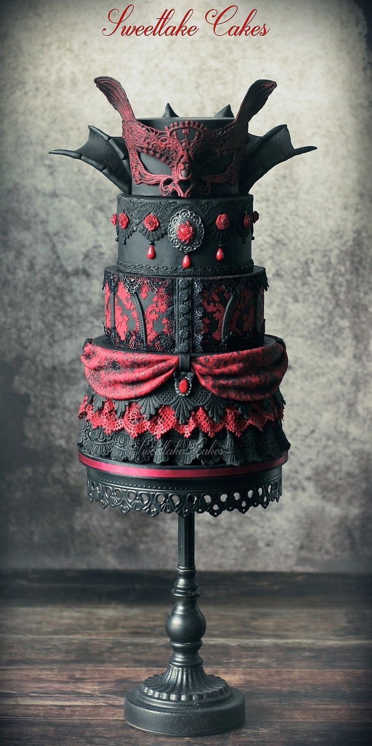 Gothic Wedding Cake be Sweetlake Cakes check us out on Fb…