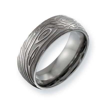 Titanium 8mm Woodgrain Satin and Polished Band Ring - Size 11.5 - JewelryWeb JewelryWeb. $55.20
