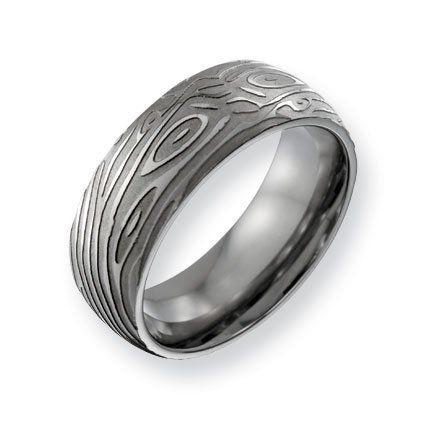 Titanium 8mm Woodgrain Satin and Polished Band Ring - Size 11.5 - JewelryWeb JewelryWeb. $55.20