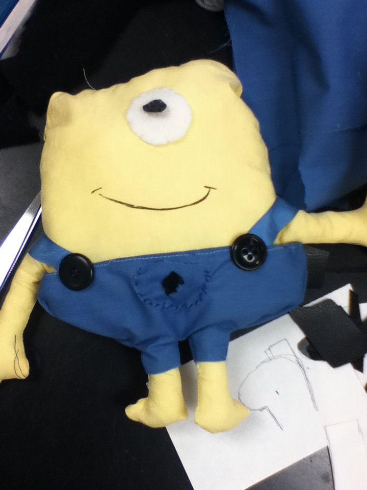 Making a minion in sewing class in school! Lol it is SO cute