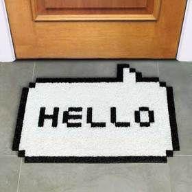 8ビットハロードアマットホワイト【Hello8bitゲーム昔マット白玄関デザインデザイナーズ靴玄関マット敷物】