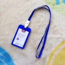 Nombre Hombres de Las Mujeres Titulares de la Tarjeta de Crédito Tarjeta de Banco de Plástico Del Cuello correa de la tarjeta de Bus de Tarjeta sostenedores de la IDENTIFICACIÓN de colores dulces placa Identificativa con lanyard(China (Mainland))