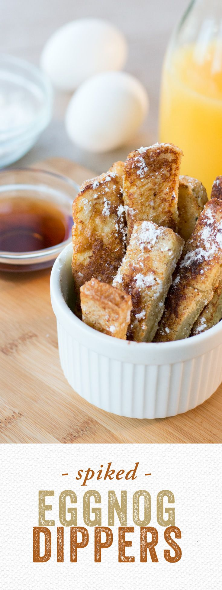 Spiked Eggnog Dippers: When bourbon, eggnog, eggs, nutmeg and California Goldminer Sourdough Bread come together, French toast magic happens! Serve with maple syrup and call it brunch.