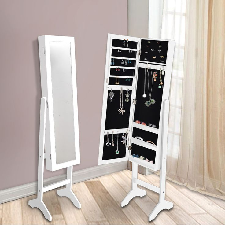 Standing Mirror Jewellery Cabinet in White 153cm | Buy Mirror Jewellery Cabinets