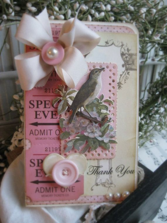 shabby chic bird THANK YOU stiched handmade card