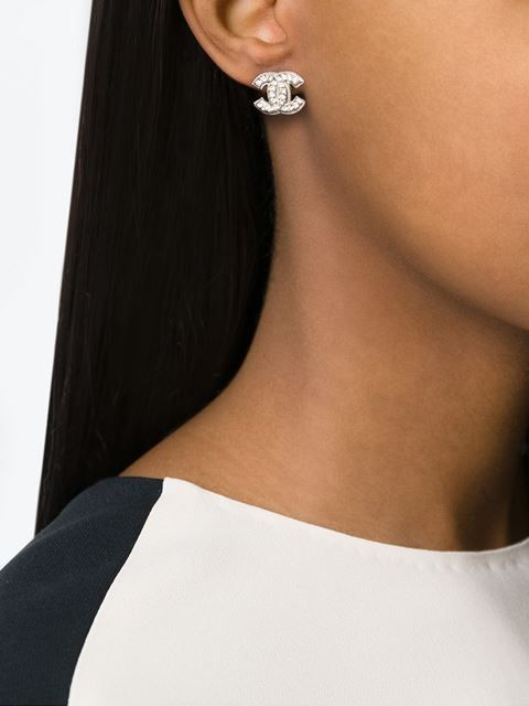 Chanel Vintage logo stud earrings