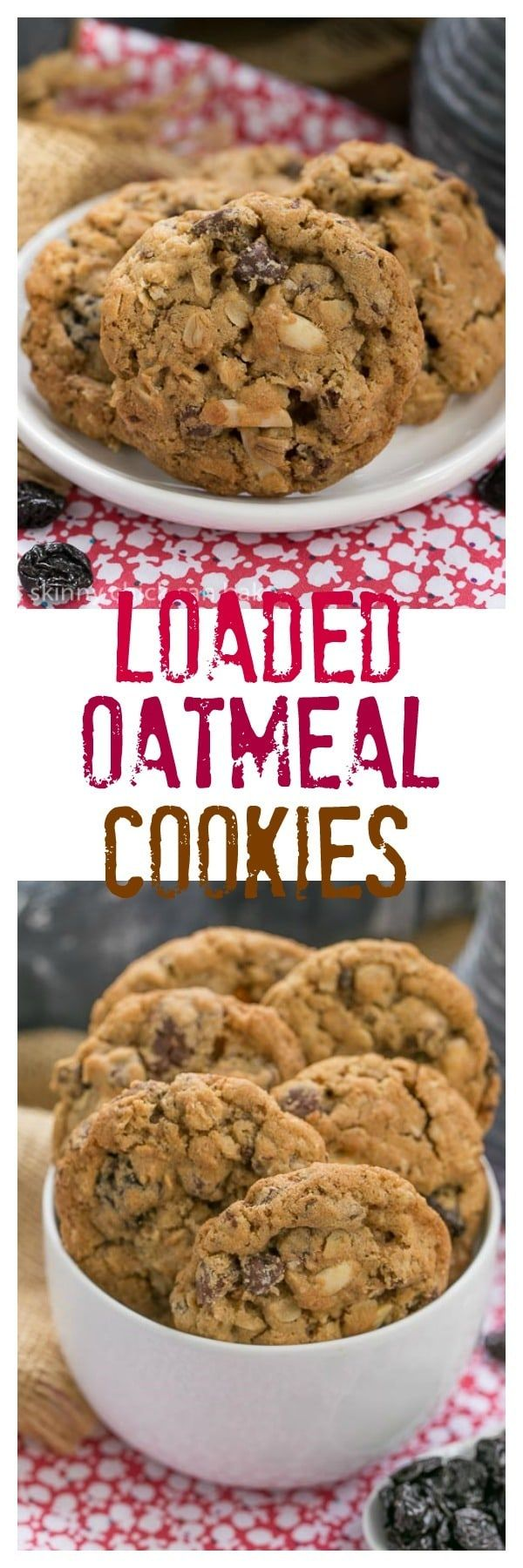 Loaded Oatmeal Cookies | Chewy oatmeal cookies filled with almonds, dried cherries and chocolate