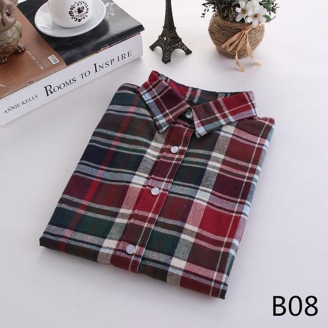 Plaid Long Sleeve Shirt Sleeve Length(cm): Full Fabric Type: Flannel Collar: Tur…