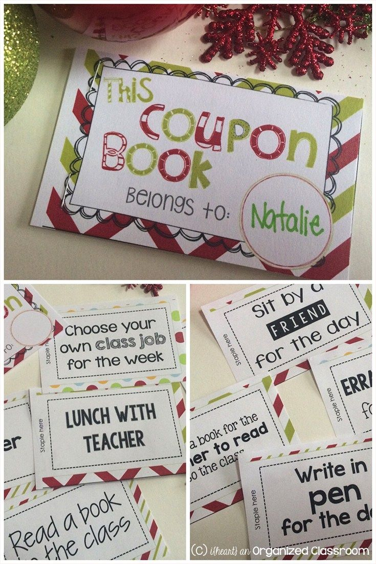 Free printable!! The Christmas Coupon Book gives students a gift that keeps on giving, and it costs the teacher nothing!