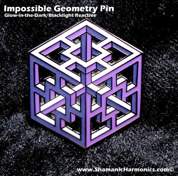 Unmögliche Geometrie Pin  lila komplexe Cube  von ShamanicHarmonics