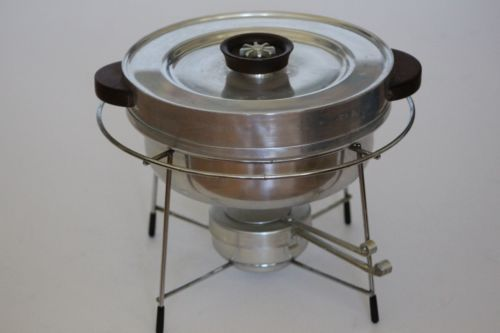 "MidCentury Modern B W Buenilum Aluminum 5pc Chafing Dish or Fondue Bain Marie. 9½"" diam x 8-3/4"" high. $49.88/5-pc Set at edgeh20dr on ebay, 1/27/16"