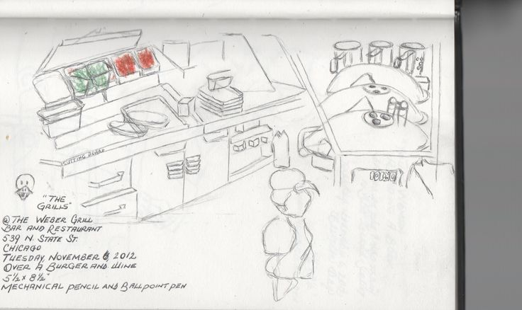 """""""Grills"""" Pencil and pen sketch of cooks with their grills. Action drawn on location at Weber Grill in 2012."""