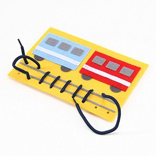 ハッピークローバー 紐を通して線路を作る 手作りフェルト教材【ひもとおし でんしゃ】 日本製 fe-himotr