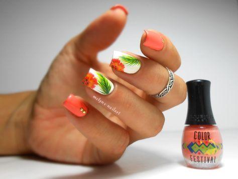 Nail art tropical Bourjois Color Festival http://melyne-nailart.com/2014/07/22/nail-art-tropical-bourjois-color-festival-corail/