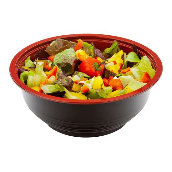 Medium Microwavable PP Asian Panda Bowl Black and Red with Lid 24 ounce 200 count box