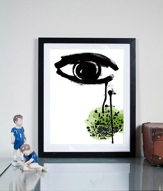 memories ...Illustration art giclée print signed by Tomek Wawer #eye #tears #black #Tomasz Wawer